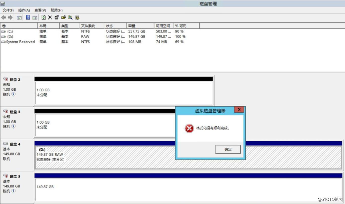 windows2012 R2群集的磁盘变raw无法格式化的解决