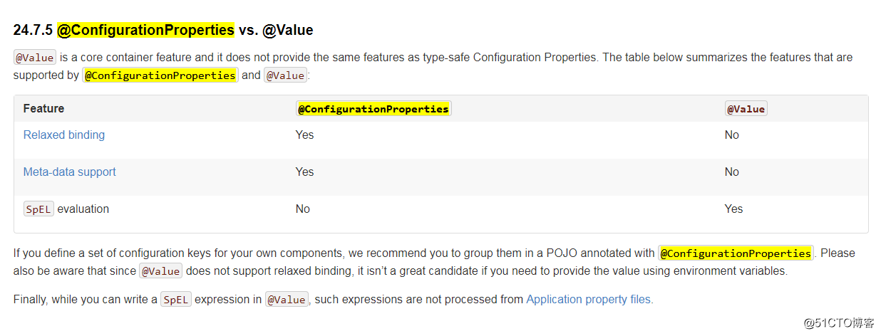 spring boot @ConfigurationProperties vs  @Value
