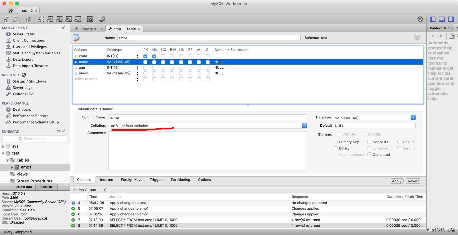 使用MySQL Workbench修改表字符集