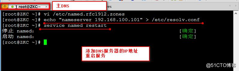 linux redhat6.5 中 构建DNS主从服务器